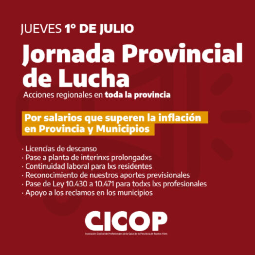 Jueves 1/7: Jornada Provincial de Lucha