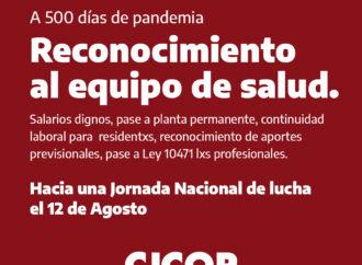 A 500 días de pandemia, el Reconocimiento al equipo de salud